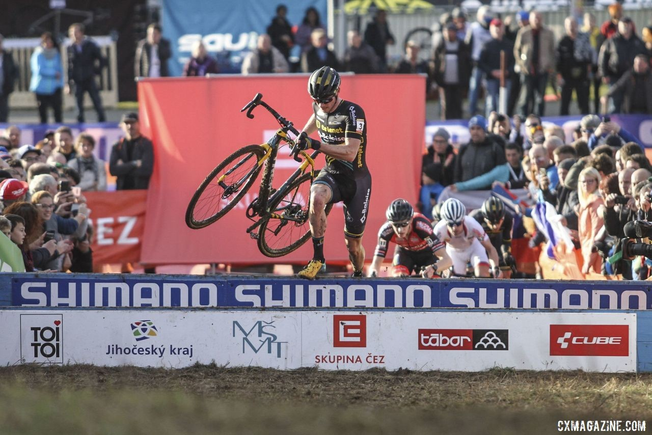 Corne van Kessel was the first rider to hit the barriers in Lap 1. 2019 World Cup Tabor, Czech Republic. © B. Hazen / Cyclocross Magazine