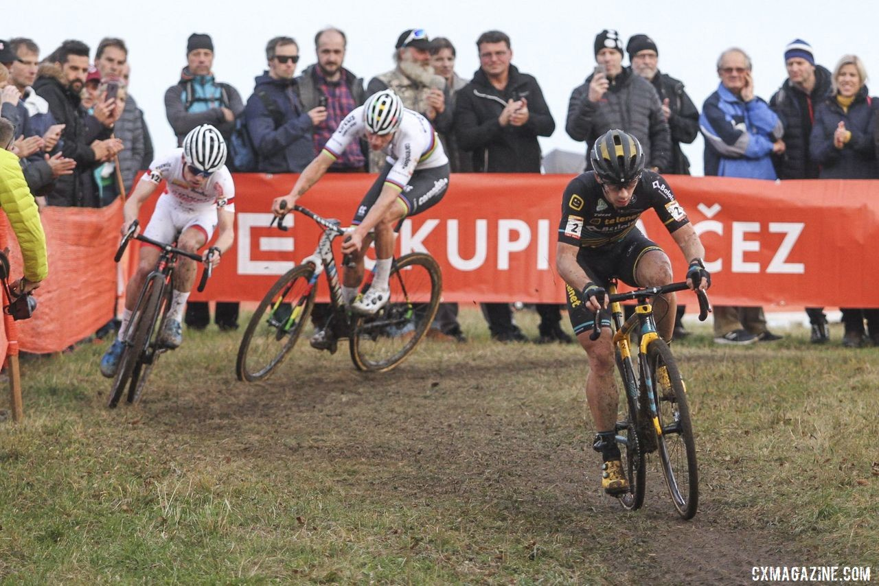 Lars van der Haar was aggressive in the lead group and took the lead late in the race. 2019 World Cup Tabor, Czech Republic. © B. Hazen / Cyclocross Magazine