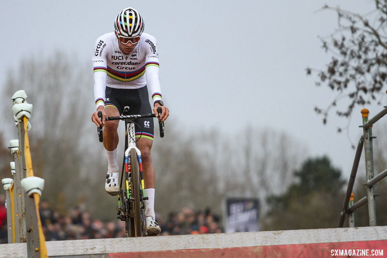 Sunday's winner Mathieu van der Poel summits the flyover. 2019 World Cup Koksijde. © B. Hazen / Cyclocross Magazine