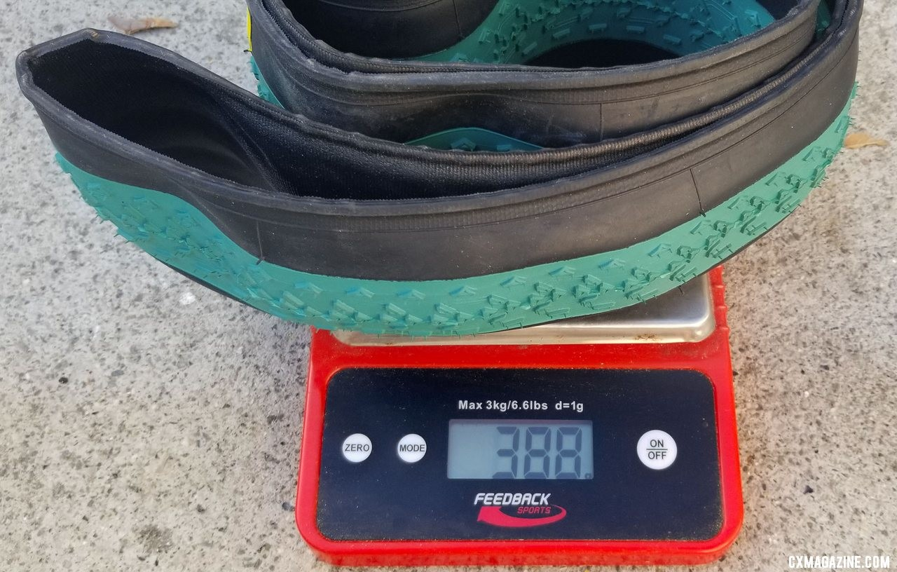 Our Michelin Power Cyclocross Mud tubeless clincher tires varied in weight by a whopping 27g. © Cyclocross Magazine