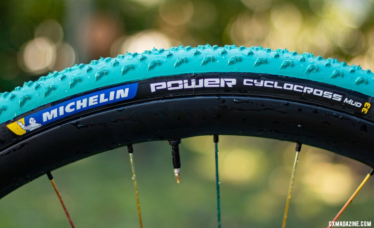 The latest Michelin Power Cyclocross Mud tubeless clincher tire kept its predecssor's width. While the old one was called 30mm, and the new one is listed at 33mm, both inflate over 35mm on a 23mm internal width rim. © Cyclocross Magazine