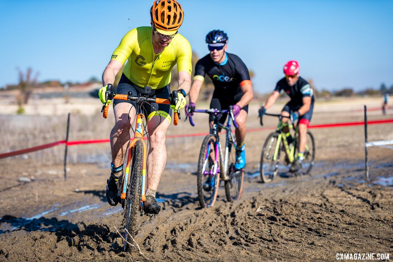 The C men were the first to hit the mud, which is a rare thing for cyclocross in California. 2019 Sacramento CX Granite Beach, California. © Jeff Vander Stucken