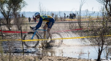 Puddle crossings, mud and heavy sand made for a heavy track. 2019 Sacramento CX Granite Beach, California. © Jeff Vander Stucken