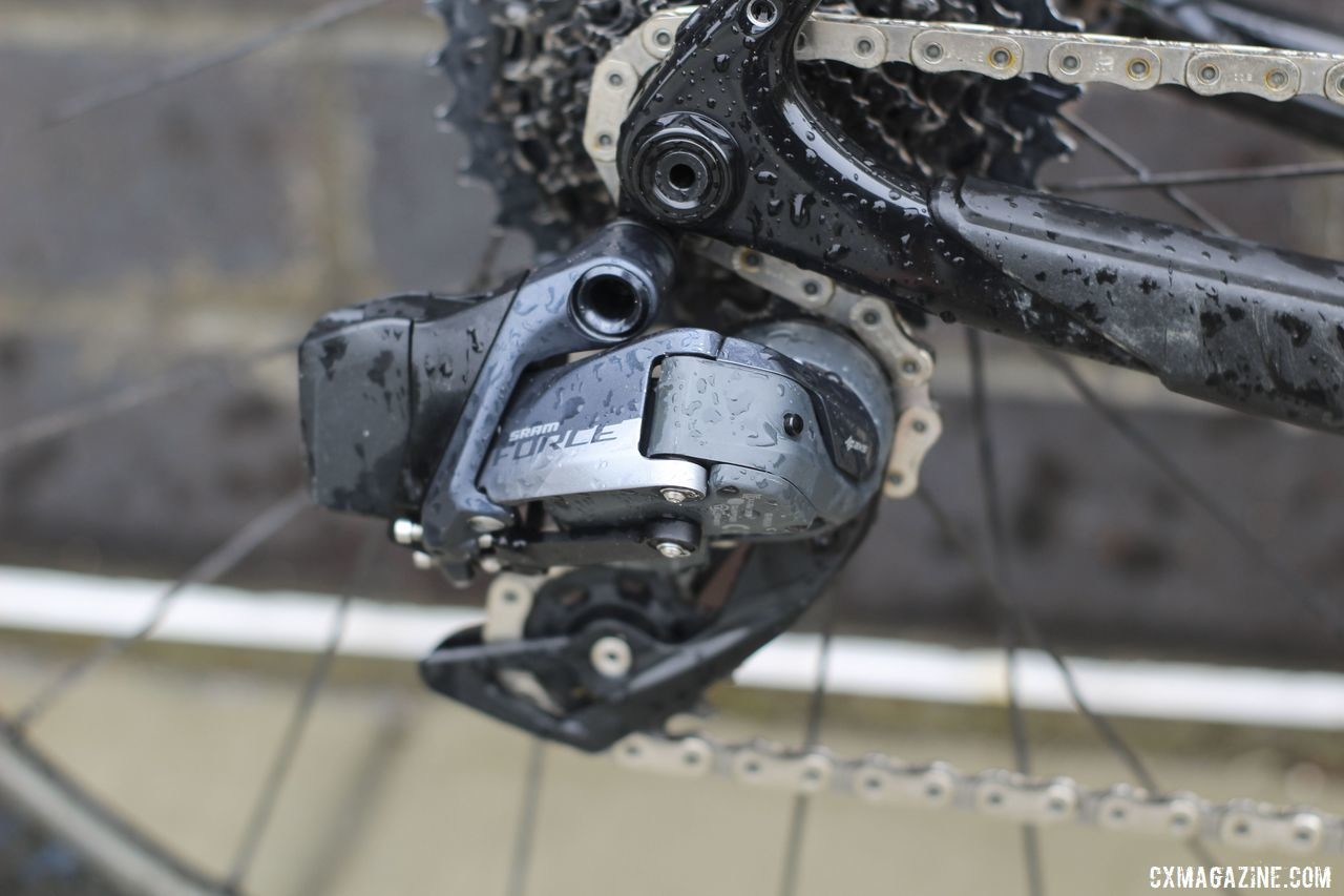 Force AXS uses the same wireless technology originally found on RED eTap. Unlike the original, AXS derailleurs have a fluid damping mechanism to avoid chain slap. Tobin Ortenblad's 2019 Santa Cruz Stigmata Cyclocross Bike, Waterloo World Cup