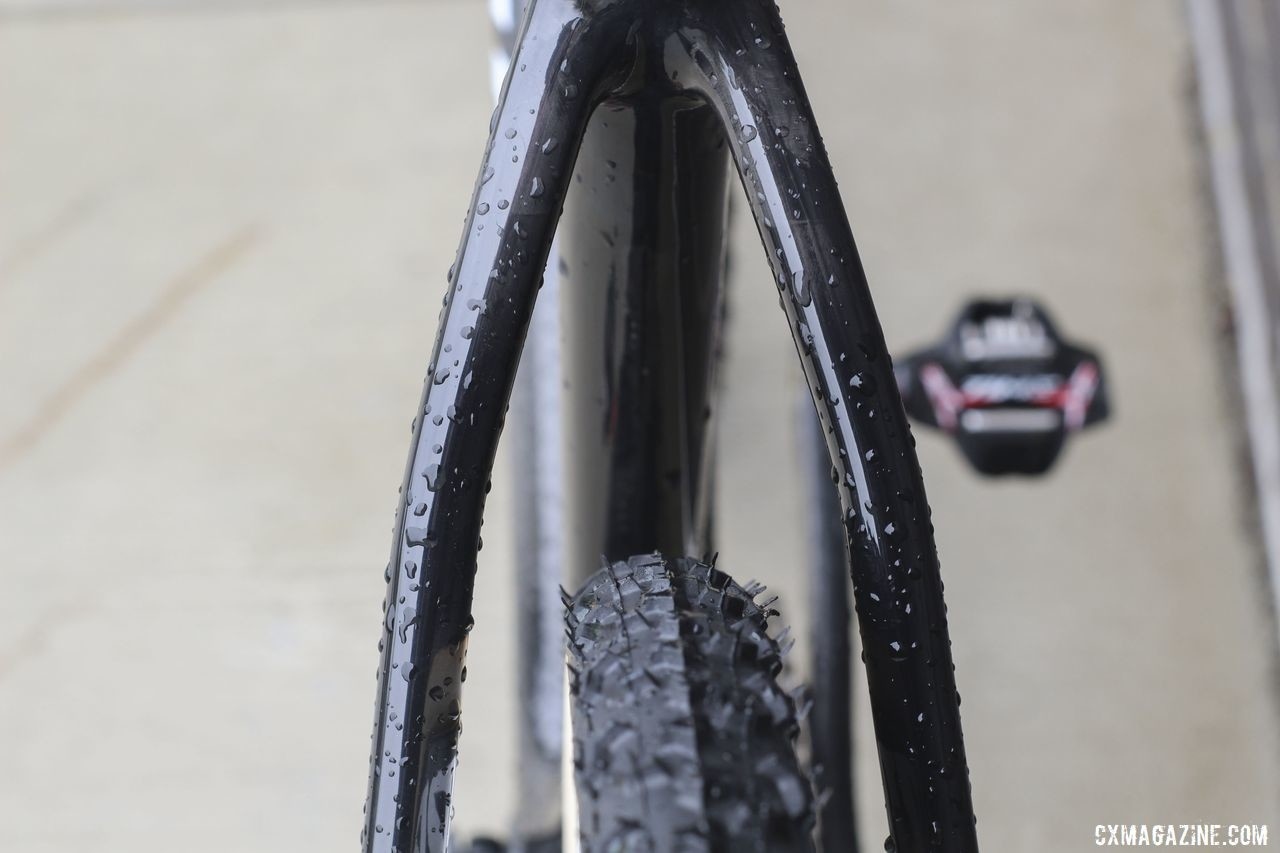 Bridgeless seat stays have become popular in recent years. Elminating the bridge increases both mud shedding capability and vertical compliance. Tobin Ortenblad's 2019 Santa Cruz Stigmata Cyclocross Bike, Waterloo World Cup