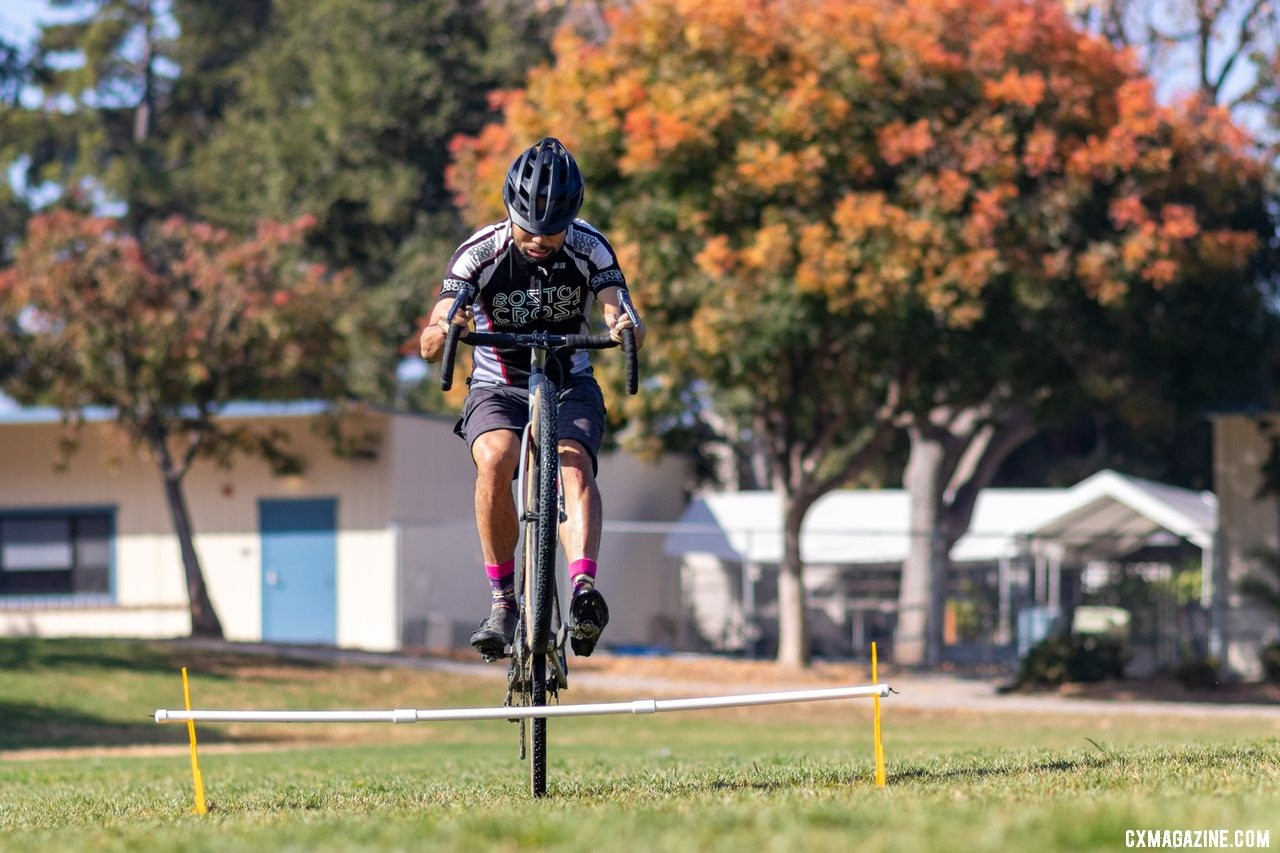 The Up.Bike portable barriers have five different height settings for easy bunnyhop practice. This is the second-highest height. Did the tester clear it with both wheels? (He's no Meeusen.) © K. Yee / Cyclocross Magazine
