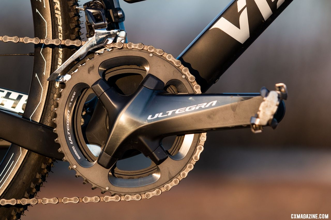 Viathon's G.1 carbon gravel bike came with 36/46 chainrings, perfect for cyclocross duty, but perhaps not quite as low or wide as we'd want for long gravel days. © A. Yee / Cyclocross Magazine