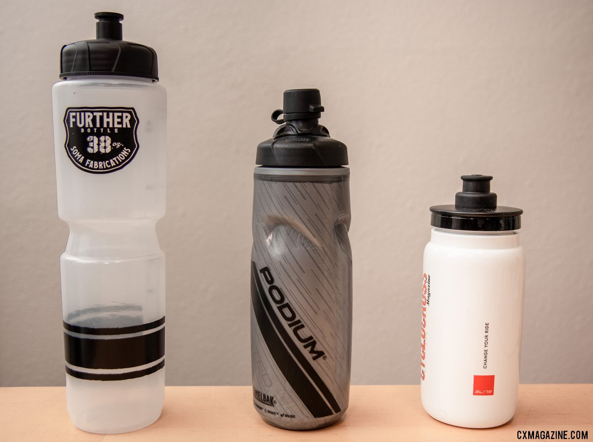 Not all bottles are created equal. The Soma Fab Further bottle carries a whopping 38 oz, the CamelBak Dirt Podium bottle keeps the dirt off thanks to its Mud Cap, and the Elite Fly 550ml bottle is ultral-light and carries just enough for your cyclocross race. © Cyclocross Magazine