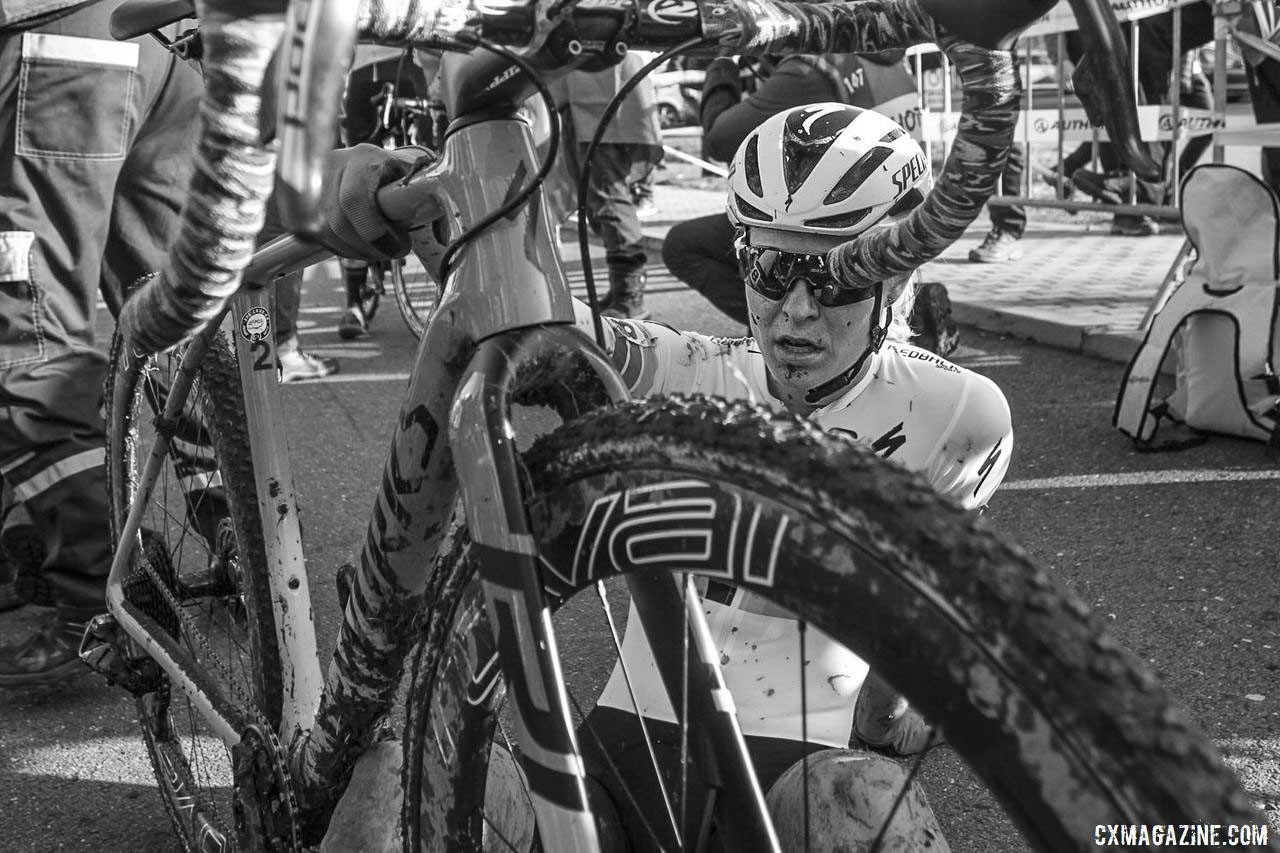Maghalie Rochette takes a moment after her race. 2019 World Cup Tabor, Czech Republic. © B. Hazen / Cyclocross Magazine
