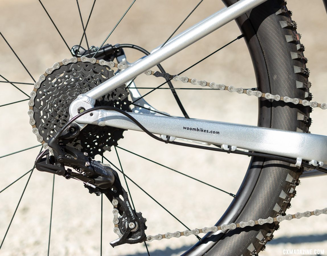 """The Woom Off 5 24"""" bike features a SRAM X5 rear derailleur. We'd love to see a clutch but the X5 keeps cost and shifting effort lower. © A. Yee / Cyclocross Magazine"""