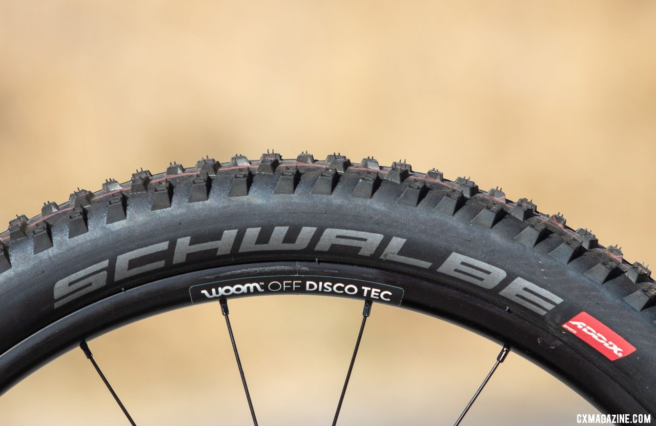 "The 24"" Rocket Ron tires are grippy and relatively light, but aren't officially tubeless. Neither are the rims. Woom Off 5 24"" bike review. © A. Yee / Cyclocross MagazineThe 24"" Rocket Ron tires are grippy and relatively light, but aren't officially tubeless. Neither are the rims. Woom Off 5 24"" bike review. © A. Yee / Cyclocross Magazine"