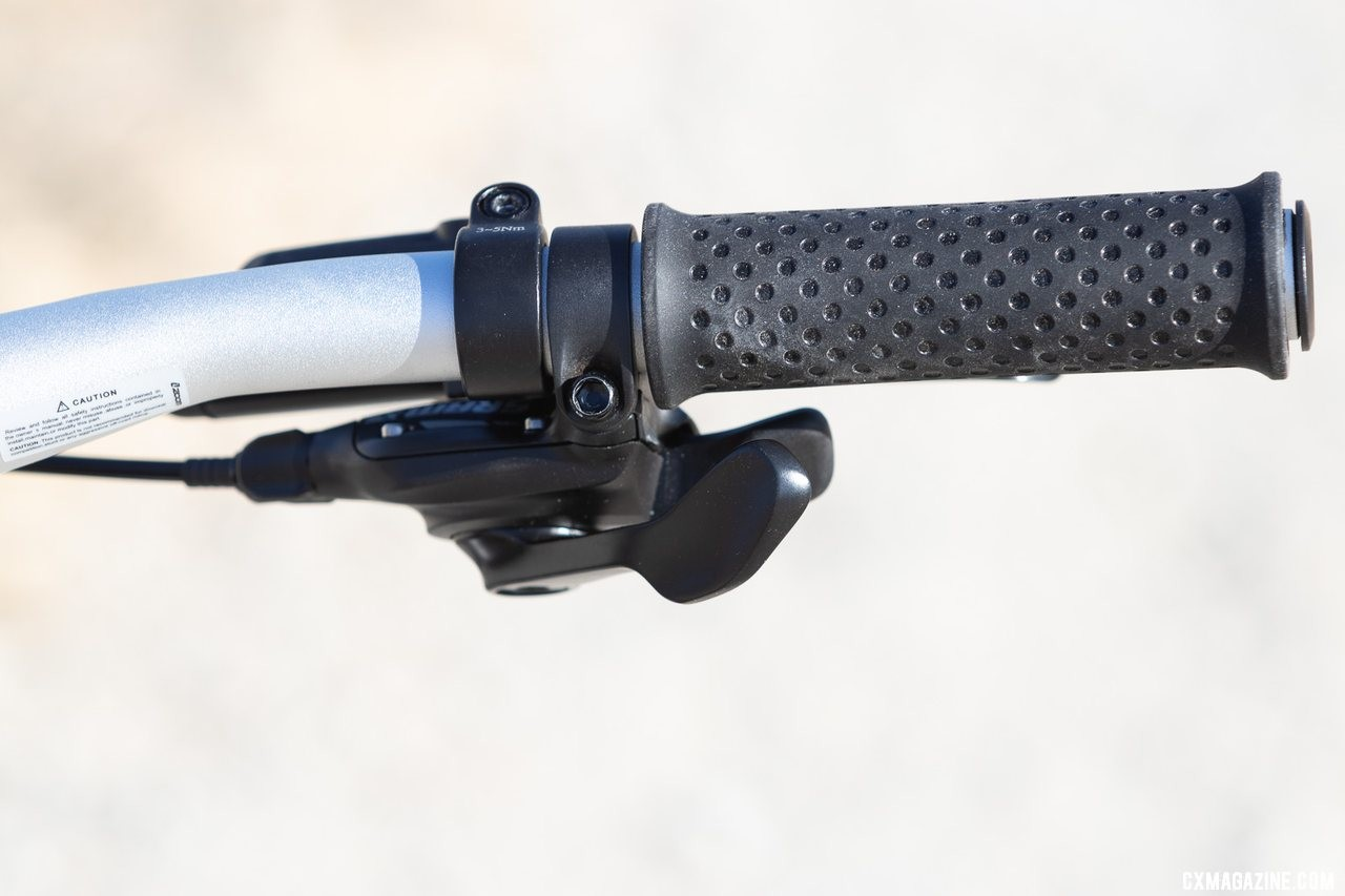 "SRAM trigger shifters and narrow grips offer easy, comfortable operation for the small hands. Woom Off 5 24"" bike review. © A. Yee / Cyclocross Magazine"