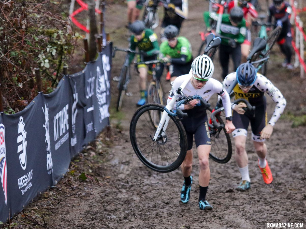 Eric Brunner and Seamus O'conner-Walker lead up the first climb of the race. Collegiate Club Men. 2019 Cyclocross National Championships, Lakewood, WA. © D. Mable / Cyclocross Magazine
