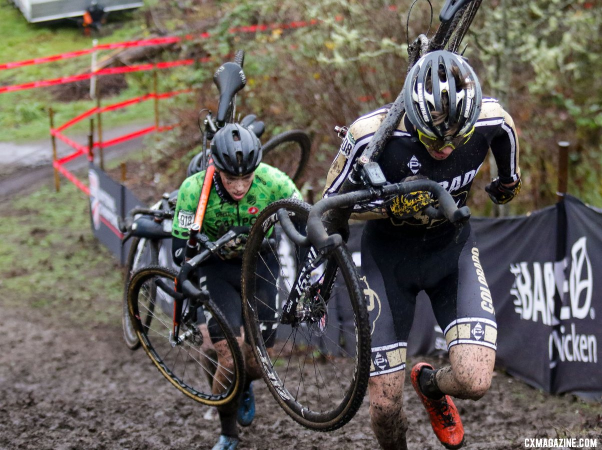 Colorados's Jack Tanner leads Calder Wood up the climb in a fight for the silver and bronze. Collegiate Club Men. 2019 Cyclocross National Championships, Lakewood, WA. © D. Mable / Cyclocross Magazine