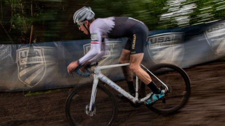 Eric Brunner is a blur as he races down the greasy bobsled run. Collegiate Club Men. 2019 Cyclocross National Championships, Lakewood, WA. © A. Yee / Cyclocross Magazine