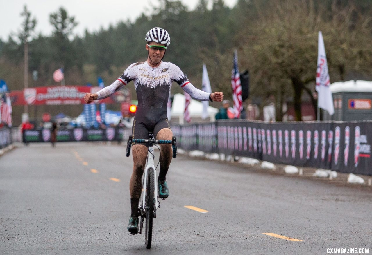 Brunner won the Collegiate Club race in Lakewood. Collegiate Club Men. 2019 Cyclocross National Championships, Lakewood, WA. © A. Yee / Cyclocross Magazine