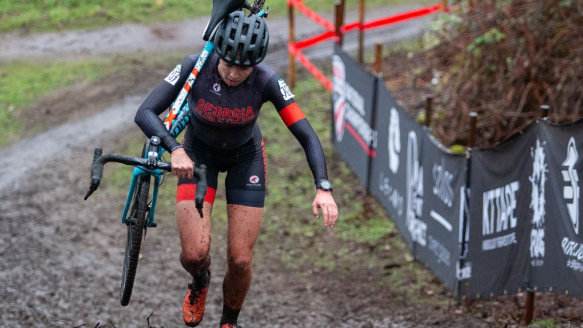 Emily Cameron hikes to the top of a steep climb. Collegiate Club Women. 2019 Cyclocross National Championships, Lakewood, WA. © A. Yee / Cyclocross Magazine