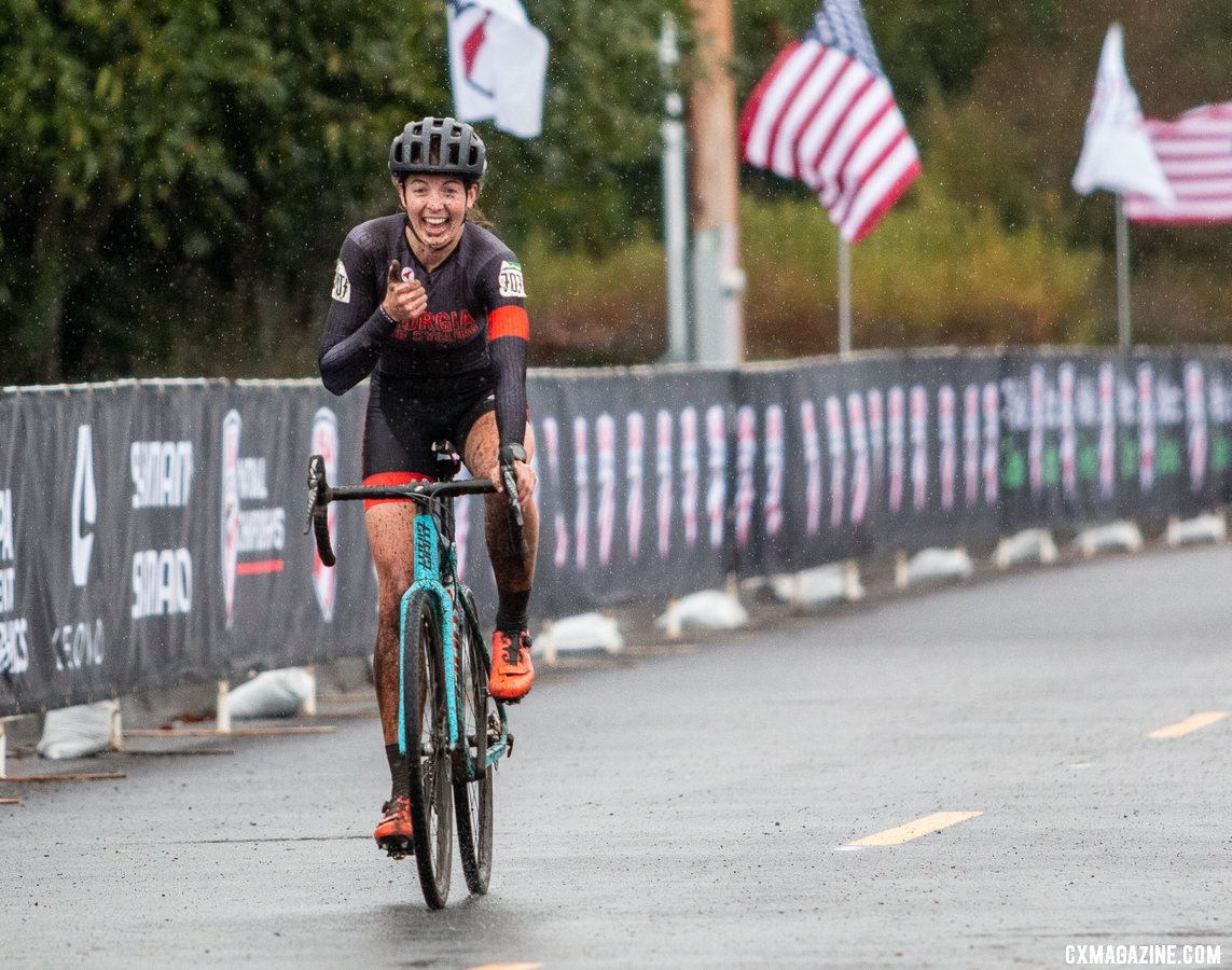 It's thumbs up for National Champion Emily Cameron. Collegiate Club Women. 2019 Cyclocross National Championships, Lakewood, WA. © A. Yee / Cyclocross Magazine