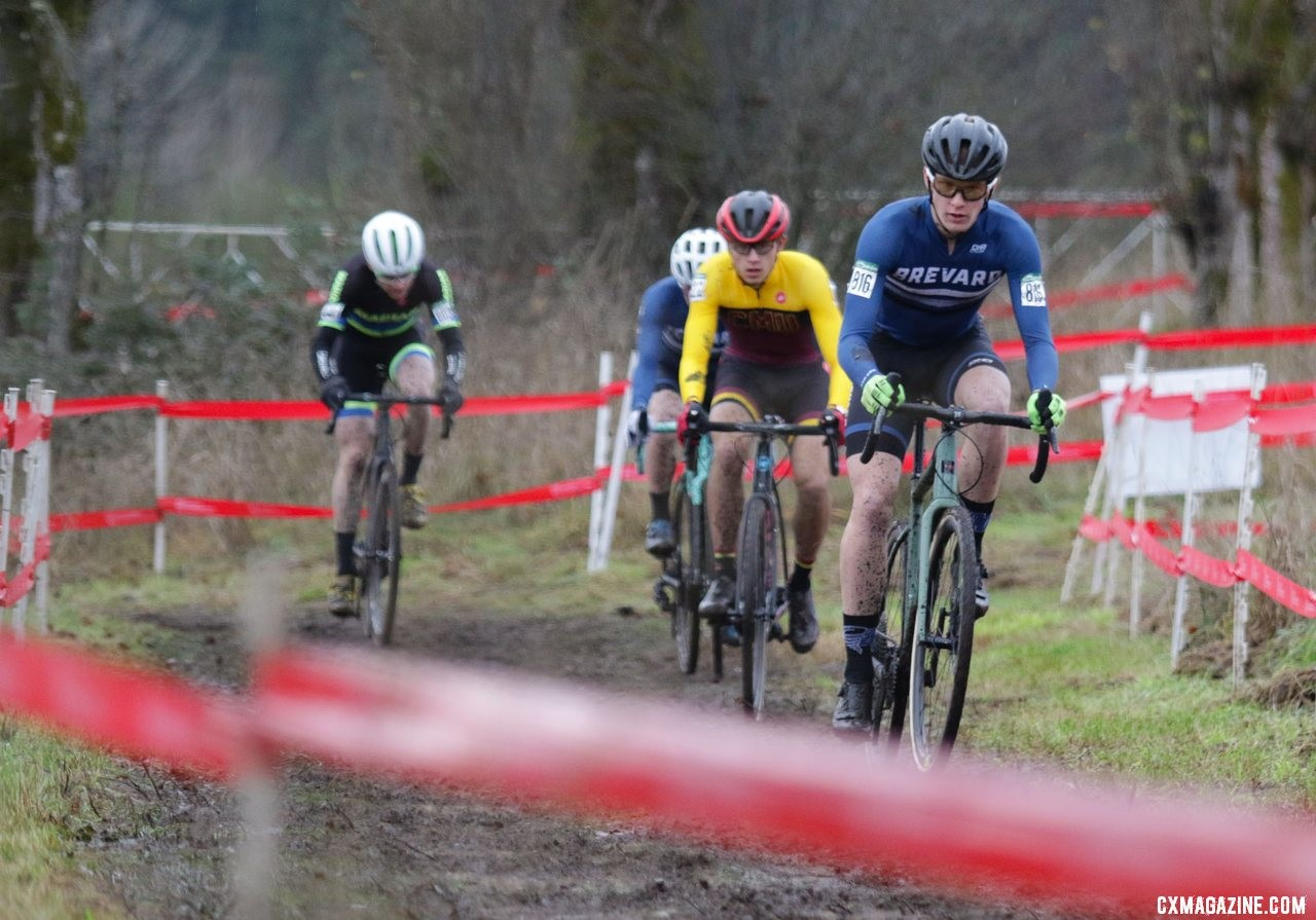 Tyler Clark leads a small group on the uphill grade to the top of the course. Collegiate Varsity Men. 2019 Cyclocross National Championships, Lakewood, WA. © D. Mable / Cyclocross Magazine