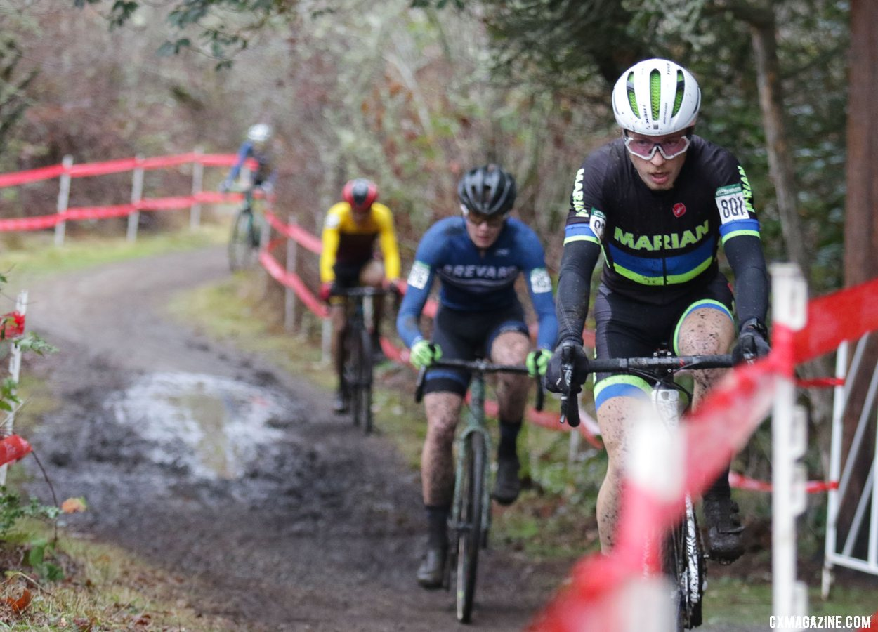 Caleb Swartz takes the lead on lap two and never looks back. Collegiate Varsity Men. 2019 Cyclocross National Championships, Lakewood, WA. © D. Mable / Cyclocross Magazine