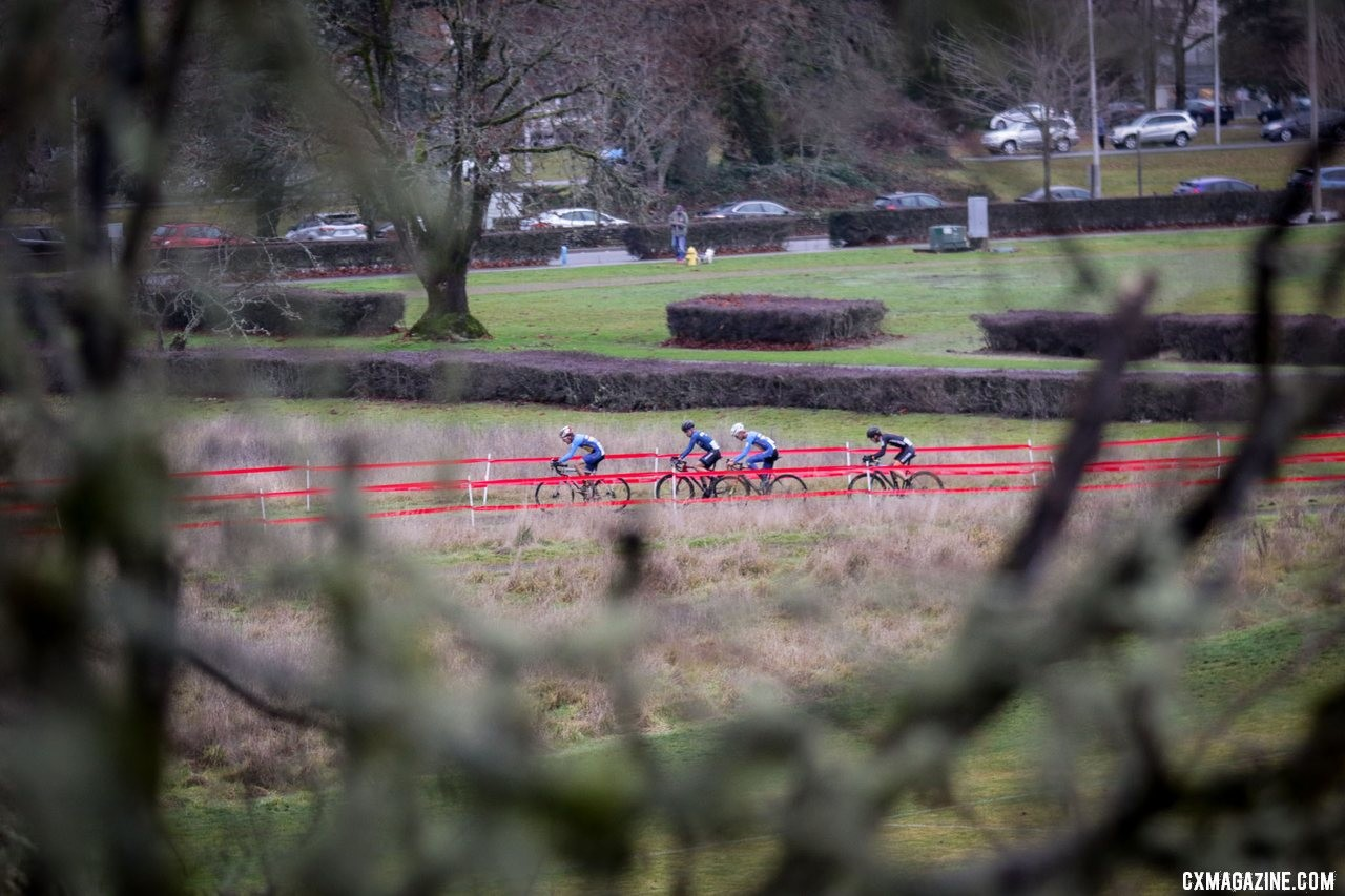 A small group of riders forms a second chase group behind the leaders. Collegiate Varsity Men. 2019 Cyclocross National Championships, Lakewood, WA. © D. Mable / Cyclocross Magazine