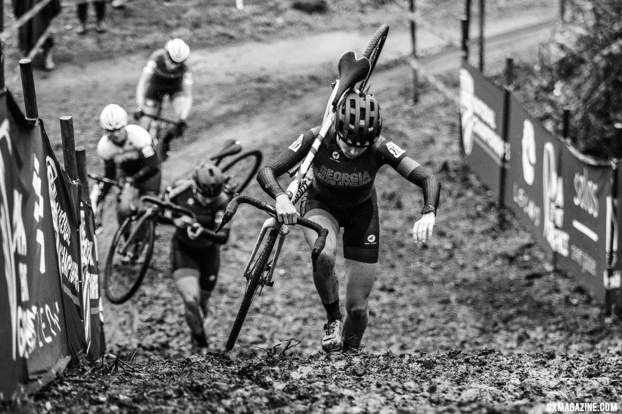 Emily Cameron made the trip from Georgia for her tenth cyclocross race ever. It seems to have been worth the trip. Collegiate Club Women. 2019 Cyclocross National Championships, Lakewood, WA. © D. Mable / Cyclocross Magazine