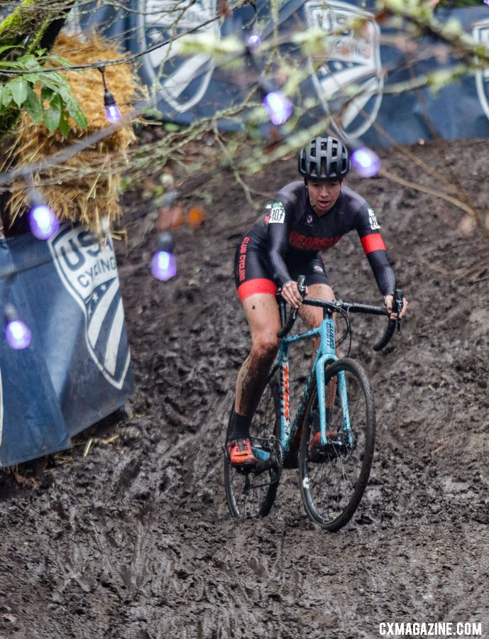 Emily Cameron works her way down the slippery bobsled run downhill. Collegiate Club Women. 2019 Cyclocross National Championships, Lakewood, WA. © D. Mable / Cyclocross Magazine