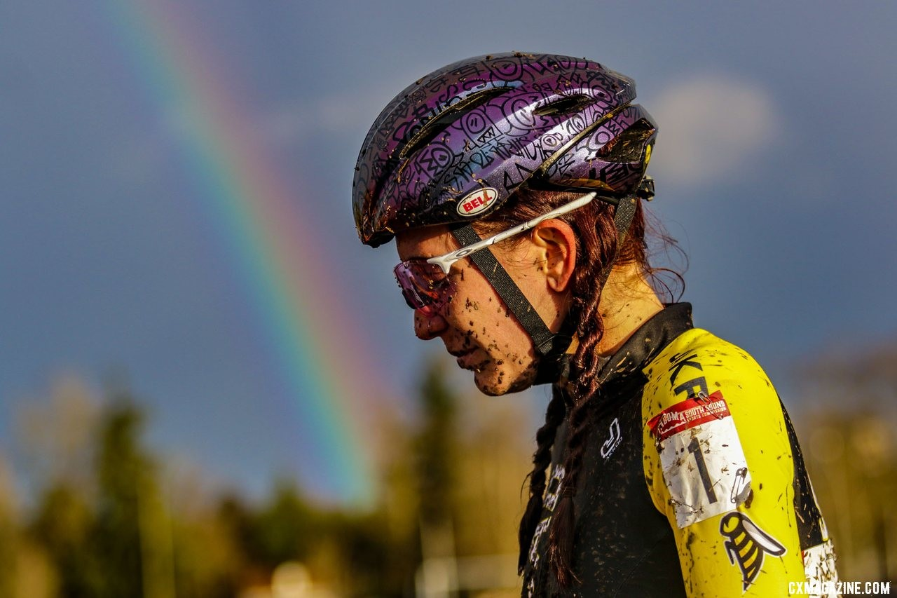Rainbows and unicorns. Sammi Runnels, Collegiate Varsity Women's Silver medalist. Collegiate Varsity Women. 2019 Cyclocross National Championships, Lakewood, WA. © D. Mable / Cyclocross Magazine
