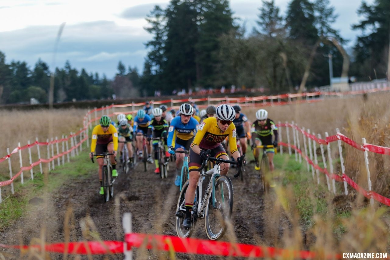 True to form, Katie Clouse took the hole shot and led the field to the base of the first climb. Collegiate Varsity Women. 2019 Cyclocross National Championships, Lakewood, WA. © D. Mable / Cyclocross Magazine