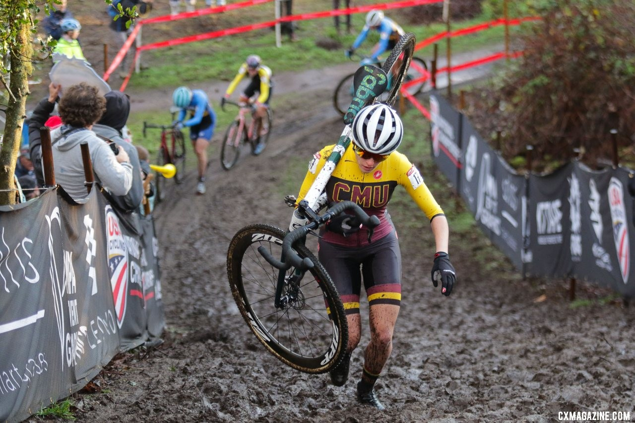 It was an early escape for Katie Clouse. Collegiate Varsity Women. 2019 Cyclocross National Championships, Lakewood, WA. © D. Mable / Cyclocross Magazine