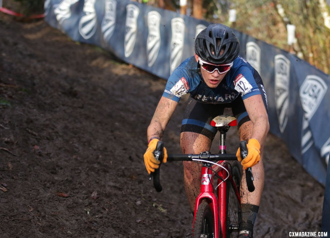 Hannah Arensman concentrates as she navigates the ruts and mud of the bobsled run downhill. Collegiate Varsity Women. 2019 Cyclocross National Championships, Lakewood, WA. © D. Mable / Cyclocross Magazine