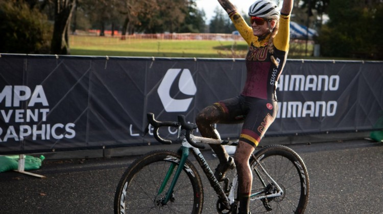 Katie Clouse celebrates her victory in the Collegiate Varsity Women's race. Collegiate Varsity Women. 2019 Cyclocross National Championships, Lakewood, WA. © A. Yee / Cyclocross Magazine