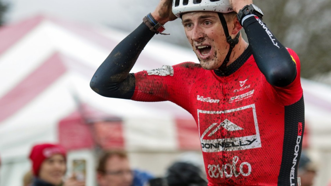 Gage Hecht is in disbelief shortly after crossing the line, the newly crowned U.S. Cyclocross National Champion. Elite Men. 2019 Cyclocross National Championships, Lakewood, WA. © D. Mable / Cyclocross Magazine