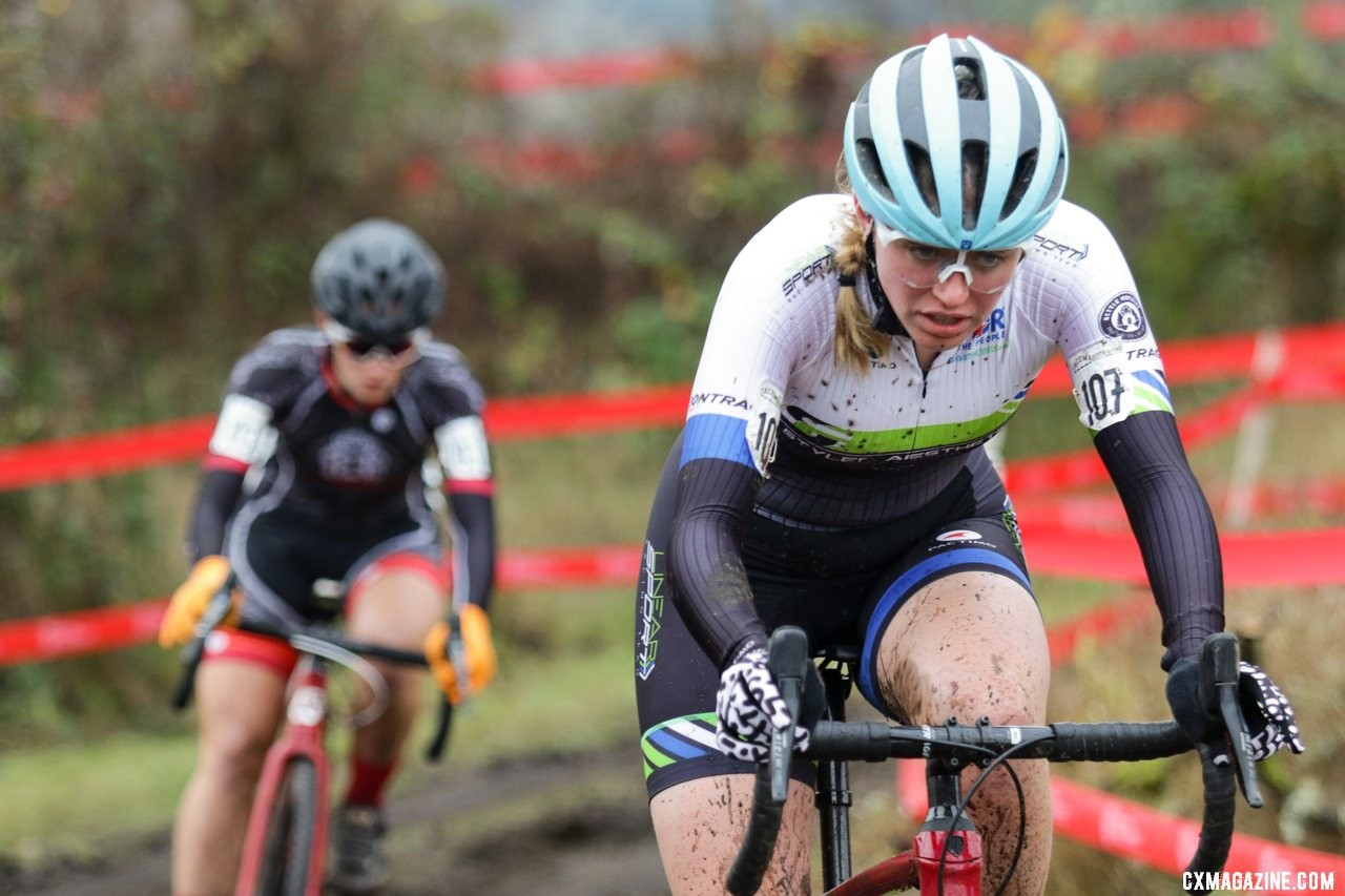 Katja Freeburn was second early on. U23 Women. 2019 Cyclocross National Championships, Lakewood, WA. © D. Mable / Cyclocross Magazine