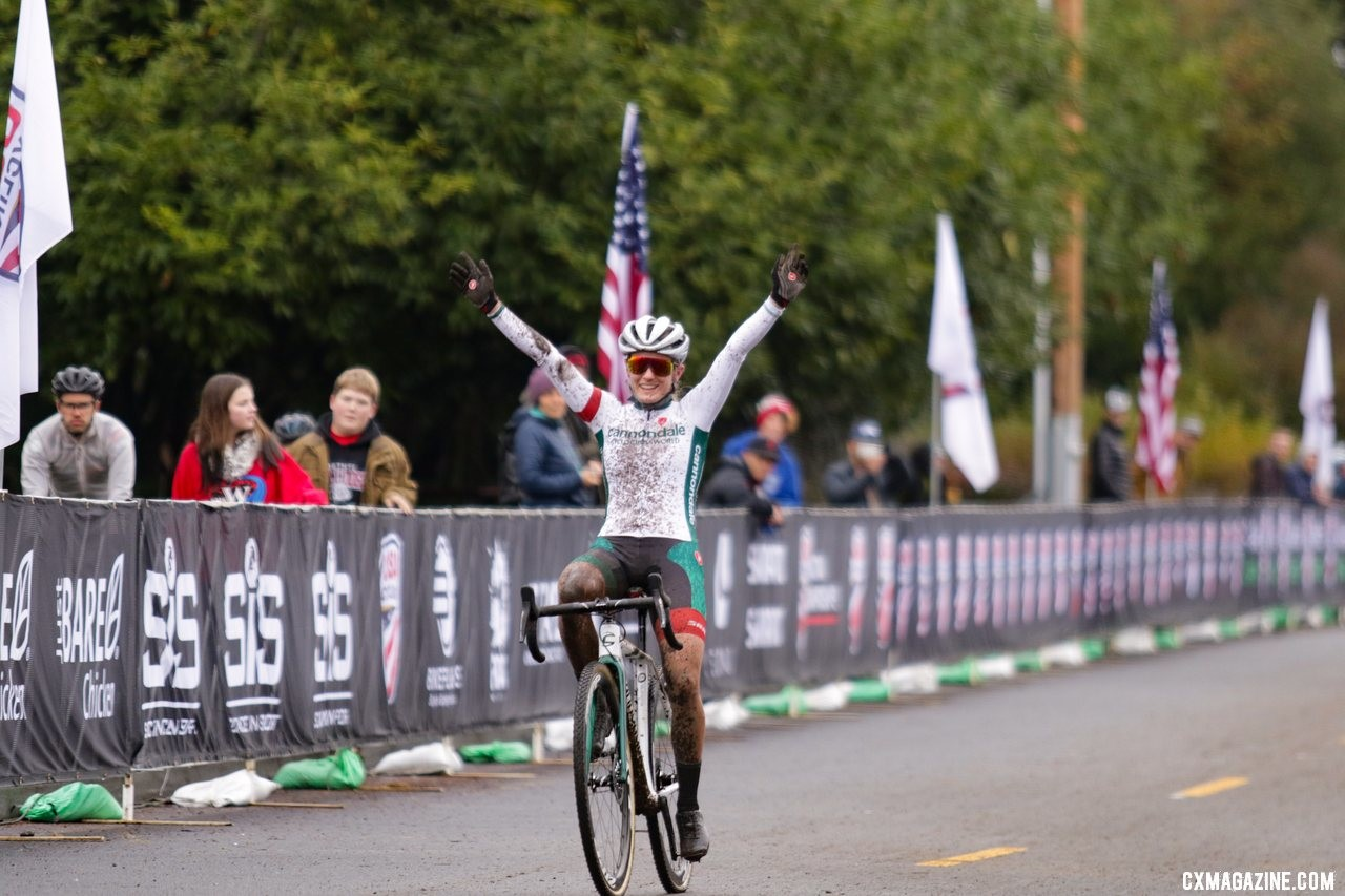 Katie Clouse was dominant as a first-year U23, and took yet another Nationals title. U23 Women. 2019 Cyclocross National Championships, Lakewood, WA. © D. Mable / Cyclocross Magazine