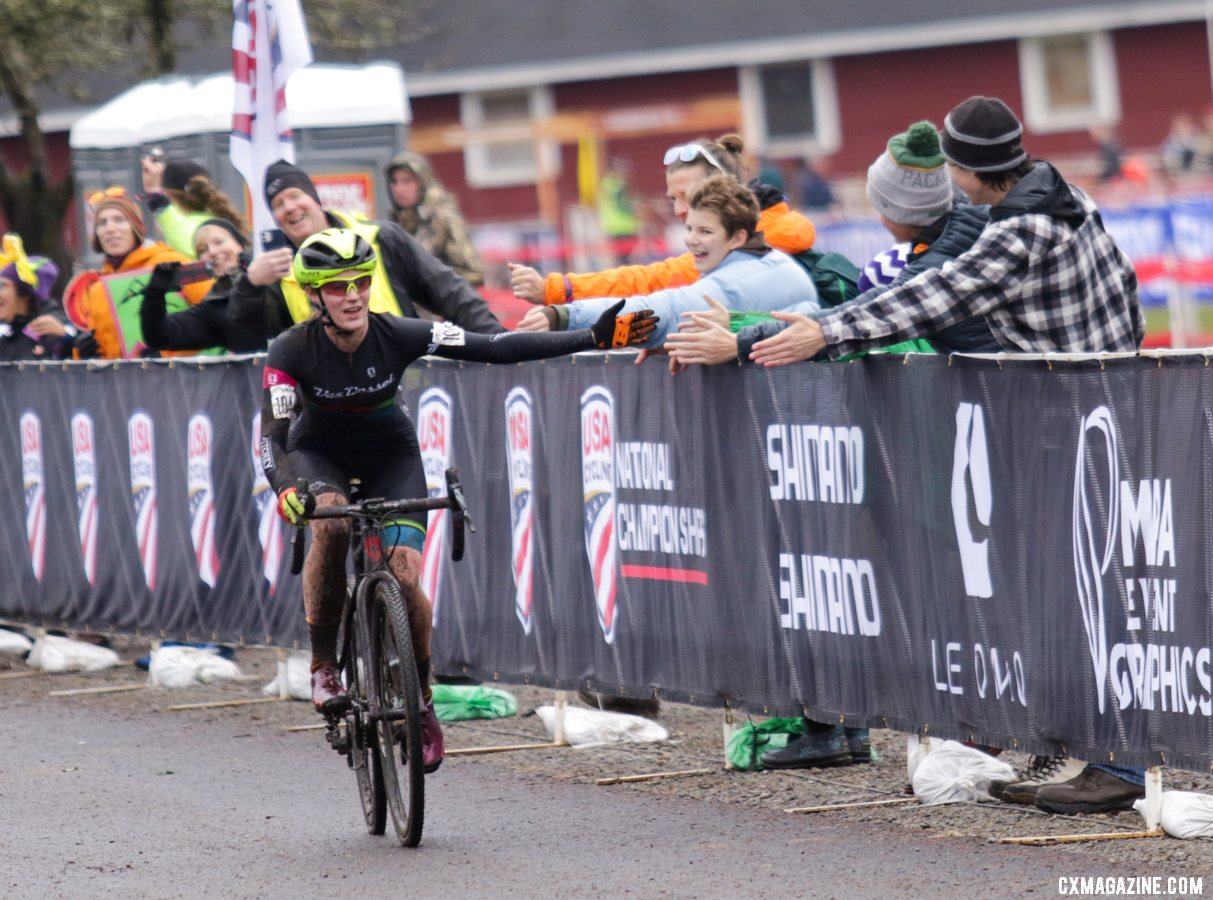 Hometown rider Shannon Mallory drops a bunch of high-fives as she cruises in to the finish, claiming the bronze medal. U23 Women. 2019 Cyclocross National Championships, Lakewood, WA. © D. Mable / Cyclocross Magazine
