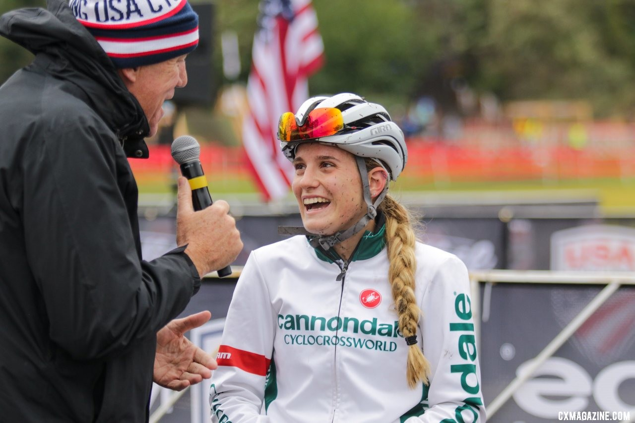 Katie Clouse's excitement was evident during her post-race interview for the USA Cycling livestream. U23 Women. 2019 Cyclocross National Championships, Lakewood, WA. © D. Mable / Cyclocross Magazine