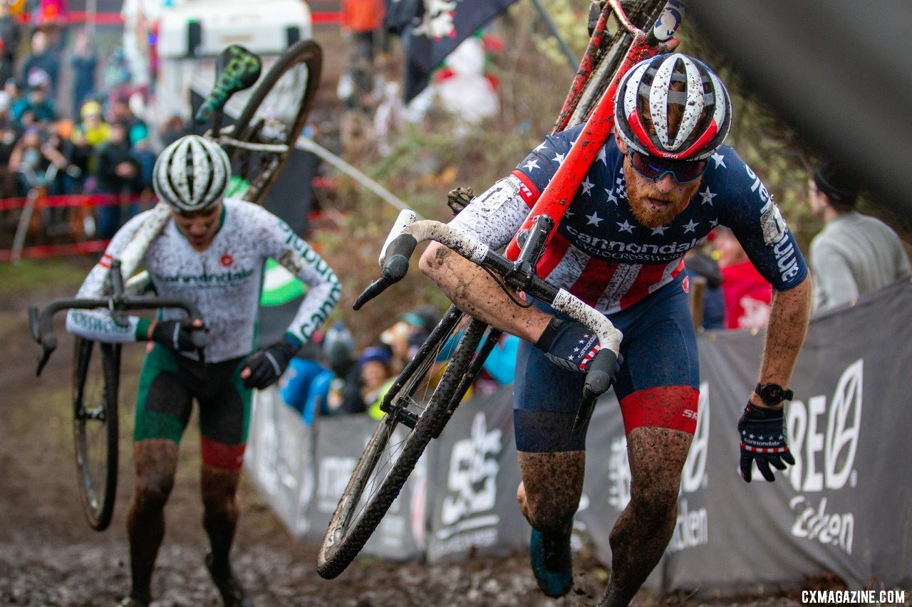 Stephen Hyde leads Curtis White as the two chase leader Gage Hecht. Elite Men. 2019 Cyclocross National Championships, Lakewood, WA. © A. Yee / Cyclocross Magazine