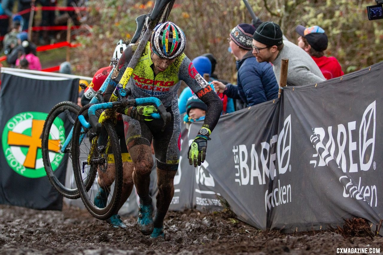 Kerry Werner makes his way up a steep, muddy run-up. Elite Men. 2019 Cyclocross National Championships, Lakewood, WA. © A. Yee / Cyclocross Magazine