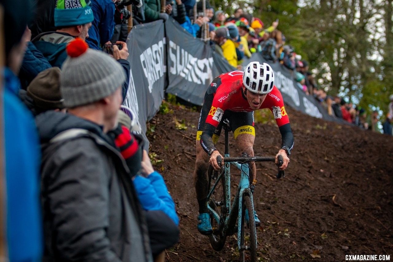 Gage Hecht drops off the off camber UCI drop. Elite Men. 2019 Cyclocross National Championships, Lakewood, WA. © A. Yee / Cyclocross Magazine