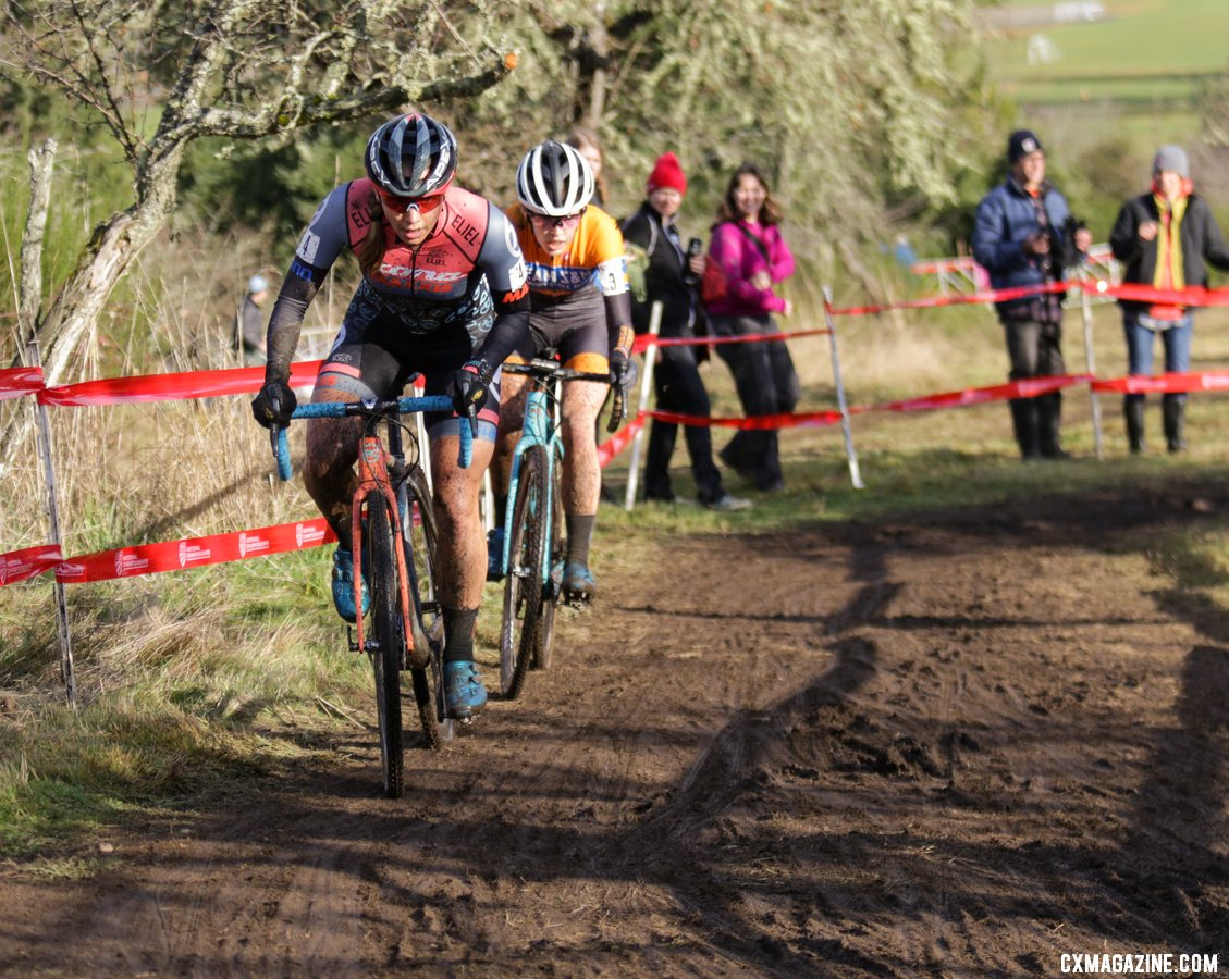 Rebecca Fahringer stepped up to push the pace early in Sunday's race. Elite Women. 2019 Cyclocross National Championships, Lakewood, WA. © D. Mable / Cyclocross Magazine
