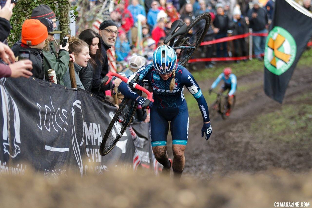 Katie Compton and Courtenay McFadden battled for the third podium spot deep into the race. Elite Women. 2019 Cyclocross National Championships, Lakewood, WA. © D. Mable / Cyclocross Magazine