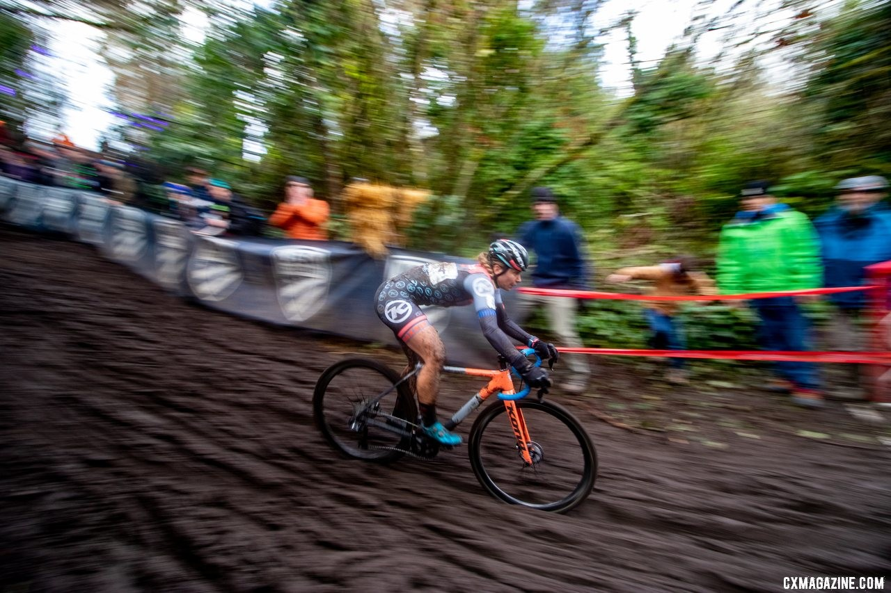 Fahringer capped her domestic season with a second-place finish in Lakewood. Elite Women. 2019 Cyclocross National Championships, Lakewood, WA. © A. Yee / Cyclocross Magazine