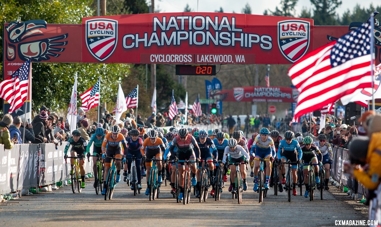 A number of women on strong seasons were looking to end Compton's legendary streak. Elite Women. 2019 Cyclocross National Championships, Lakewood, WA. © A. Yee / Cyclocross Magazine