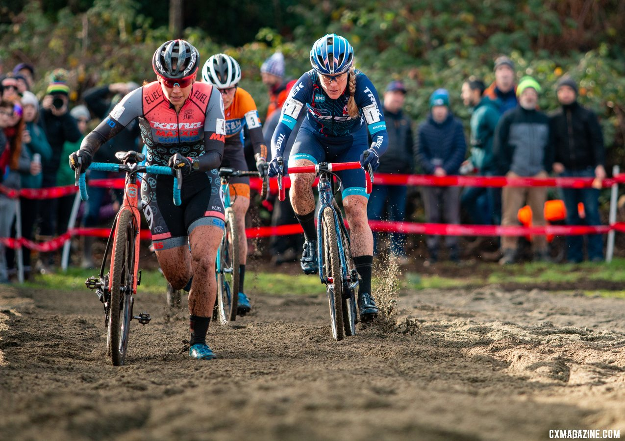 Rebecca Fahringer, Katie Compton and Clara Honsinger got off the front in Lap 1. Elite Women. 2019 Cyclocross National Championships, Lakewood, WA. © A. Yee / Cyclocross Magazine
