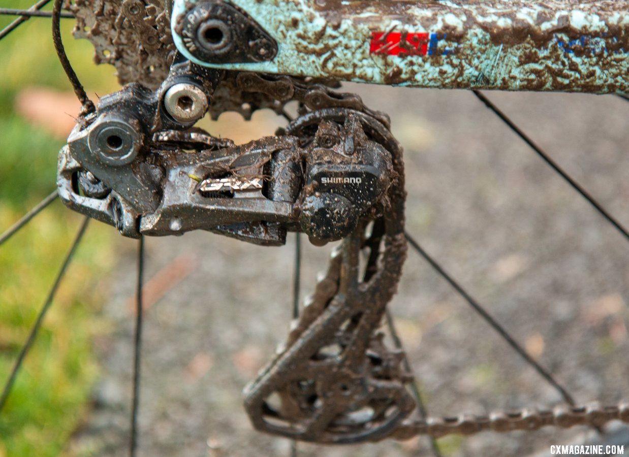 Hecht ran GRX where possible. In the back, he had the RX815 Di2 rear derailleur. Gage Hecht's Elite Men's winning Donnelly C//C cyclocross bike. 2019 USA Cycling Cyclocross National Championships bike profiles, Lakewood, WA. © A. Yee / Cyclocross Magazine