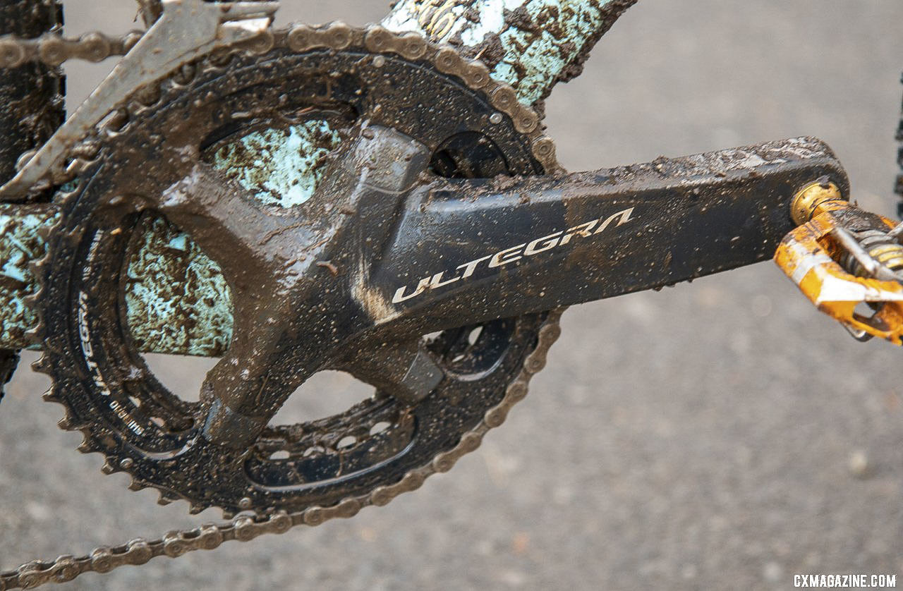 To run a double, Hecht used an Ultegra R8000 crankset with 175mm crank arms. Gage Hecht's Elite Men's winning Donnelly C//C cyclocross bike. 2019 USA Cycling Cyclocross National Championships bike profiles, Lakewood, WA. © A. Yee / Cyclocross Magazine