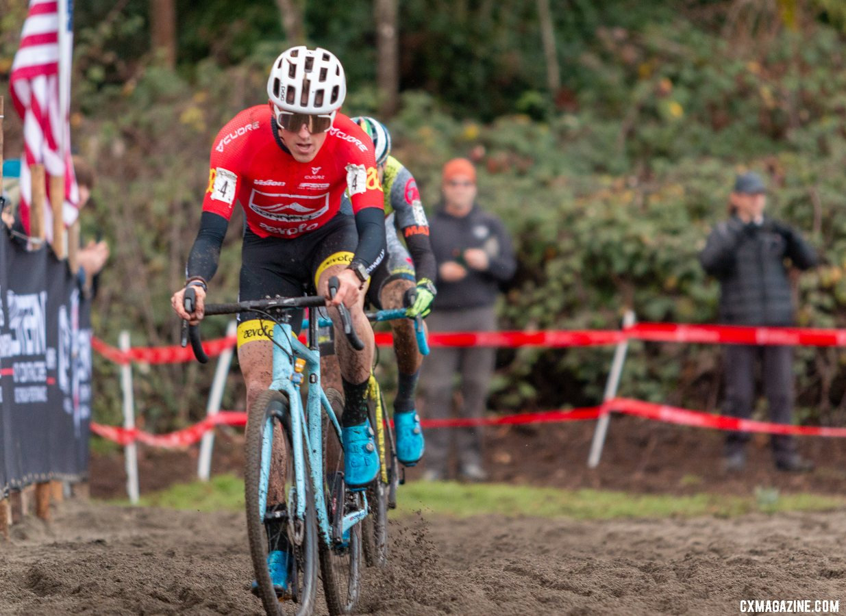 """Hecht did not pit during the race but admitted it was a """"gutsy"""" move. 2019 USA Cycling Cyclocross National Championships bike profiles, Lakewood, WA. © A. Yee / Cyclocross Magazine"""