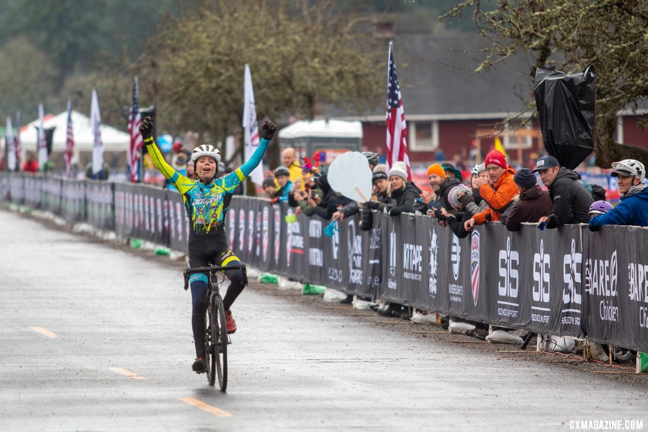 Rowan Child celebrates his win as he crosses the line in the Junior Men 11-12 race. 2019 Cyclocross National Championships, Lakewood, WA. © A. Yee / Cyclocross Magazine