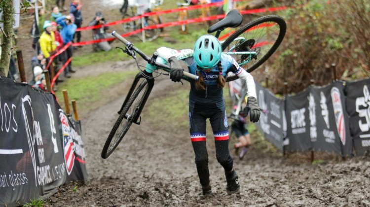 Keaghlan Robinson hits the bottom of the climb as Kira Mullins nears the top. Junior Women 11-12. 2019 Cyclocross National Championships, Lakewood, WA. © D. Mable / Cyclocross Magazine